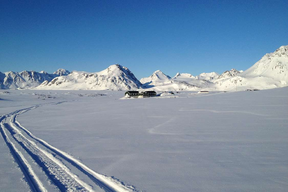 Photo of Hotel Kulusuk taken from a snow mobile. Photo by Arctic Wonderland Tours, Visit Greenland