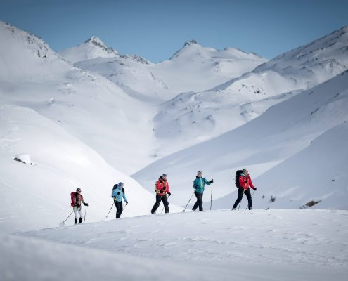 Cross country skiers in the backcountry around Tasiilaq in East Greenland