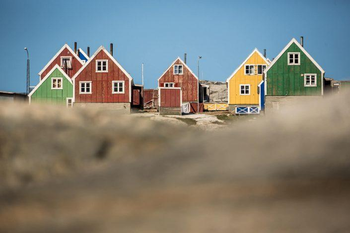 Colourful houses in Qasigiannguit in North Greenland