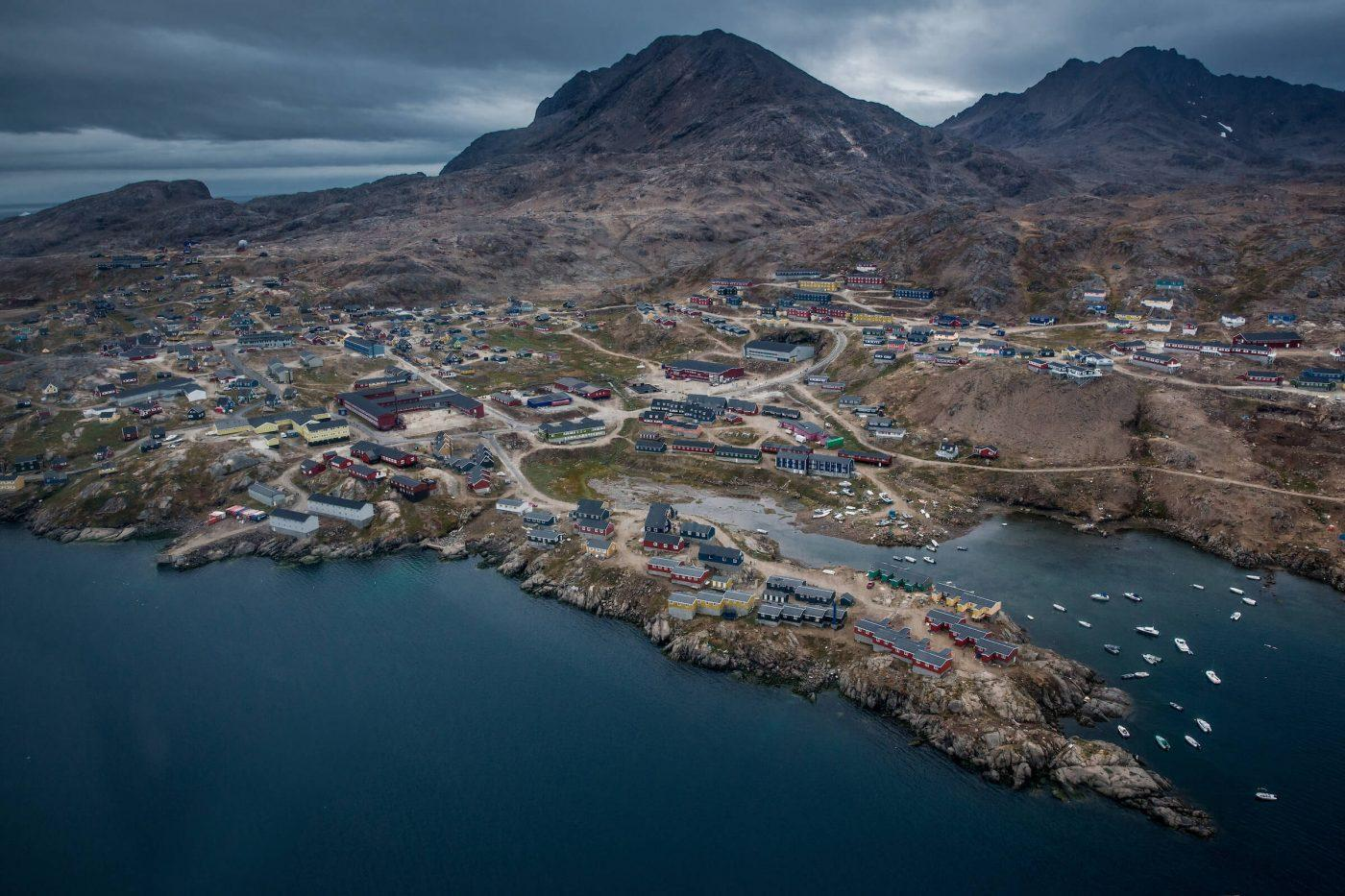 An aerial view of Tasiilaq seen from a flightseeing trip with Air Greenland in East Greenland. Photo by Mads Pihl, Visit Greenland