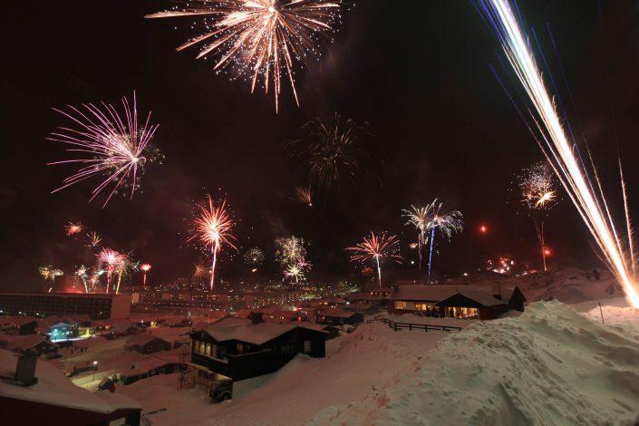 Fireworks new years eve in Nuuk, by Klaus Eskildsen