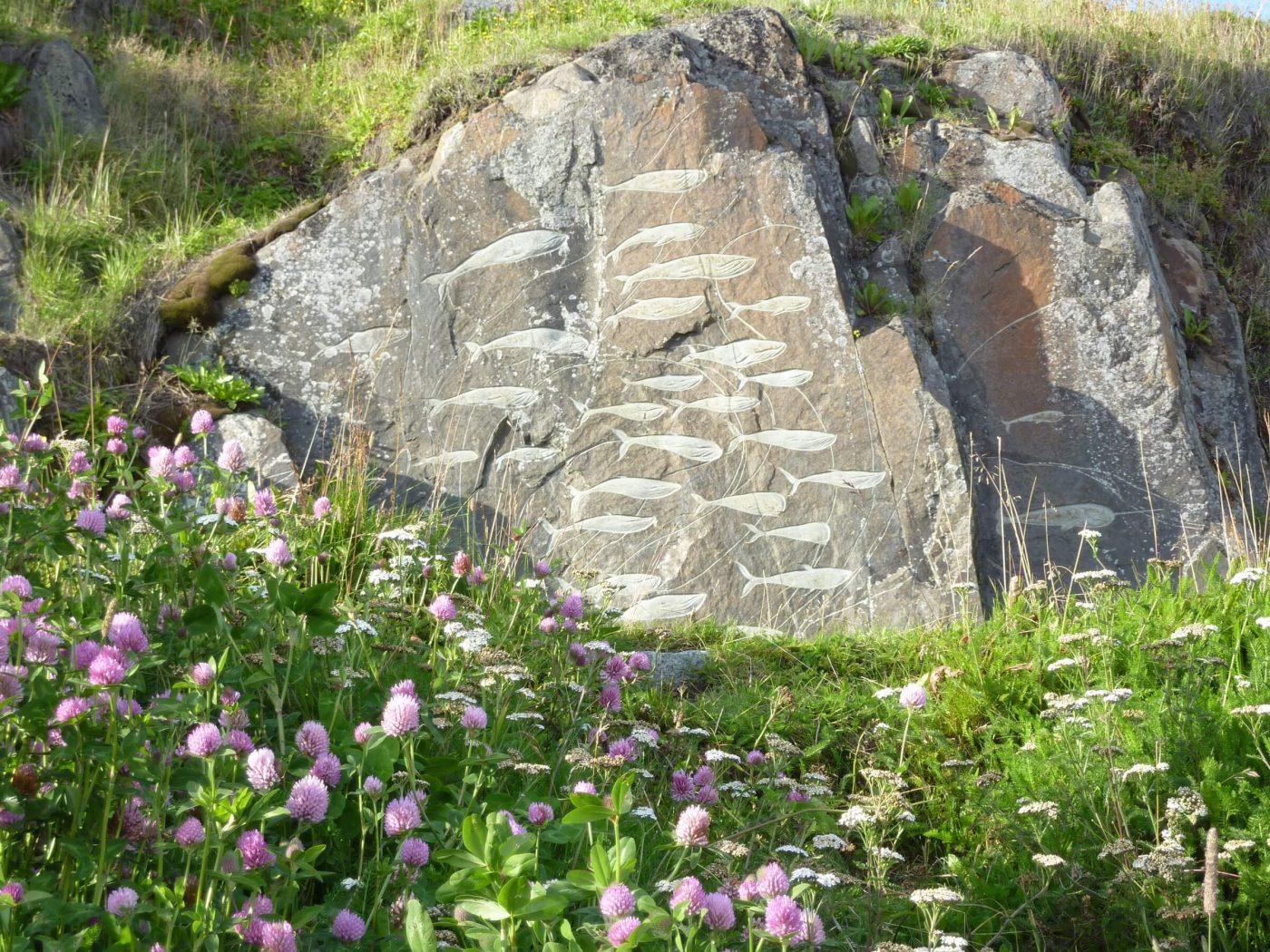 Flowers at the 'stone And Man' stone art in Qaqortoq, by Malik Milfeldt