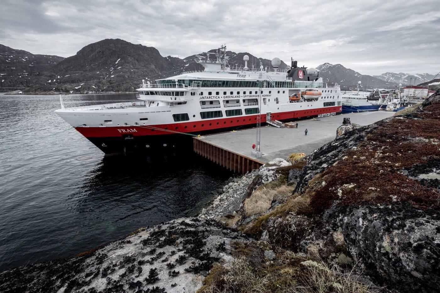 MS Fram from Hurtigruten docked alongside in Sisimiut, Greenland. Photo by Mads Pihl, Visit Greenland