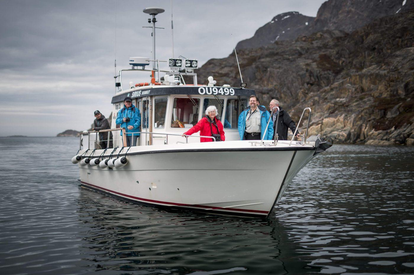 The tour boat Sirius Greenland arriving in Assaqutaq near Sisimiut in Greenland. Photo by Mads Pihl, Visit Greenland