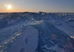 Ice Sheet - The setting sun over the Greenland Ice Sheet near Kangerlussuaq in winter