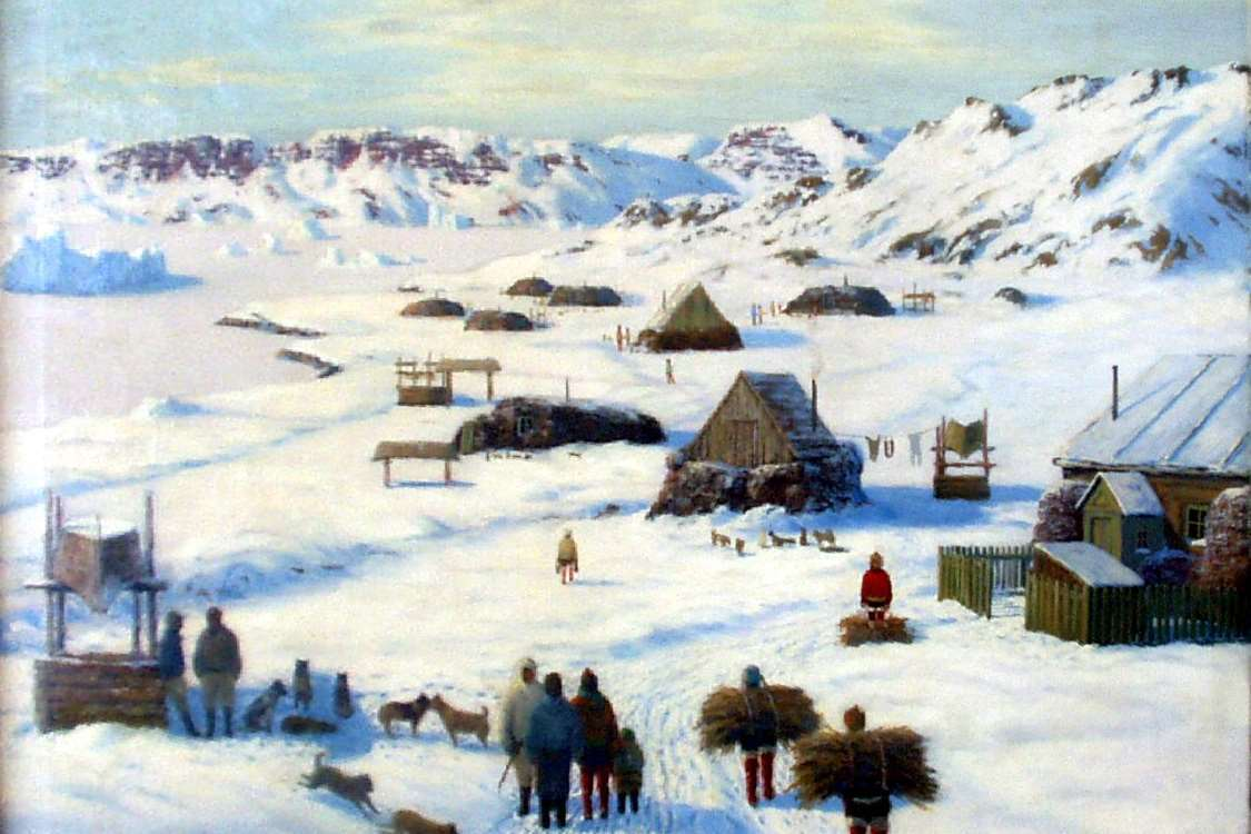 Oil painting by Emmanuel A. Petersen, a Danish painter famous for his paintings of Greenland and the Inuit. Photo by Ilulissat Art Museum