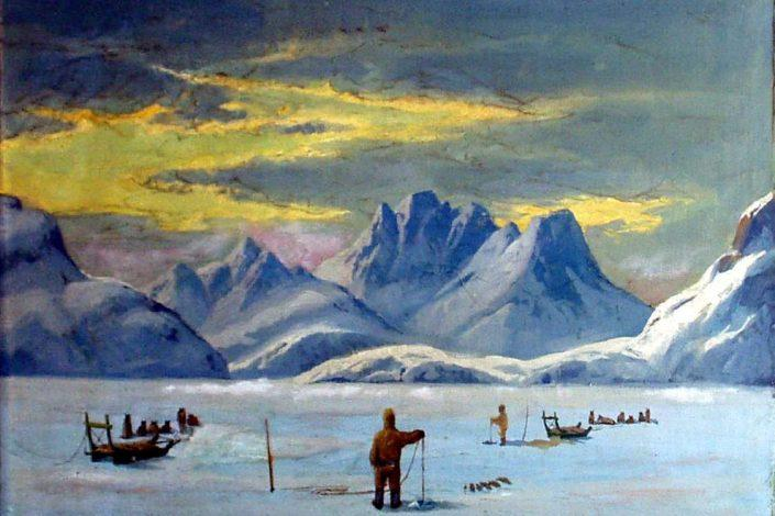 Oil painting by Emmanuel A. Petersen, a Danish painter famous for his paintings of Greenland. Photo by Ilulissat Art Museum - Visit Greenland
