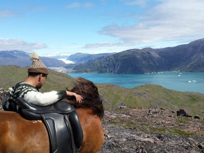 An Icelandic horse and a man looking at the fjord of South Greenland in Summer. Photo by Inneruulalik Guest House