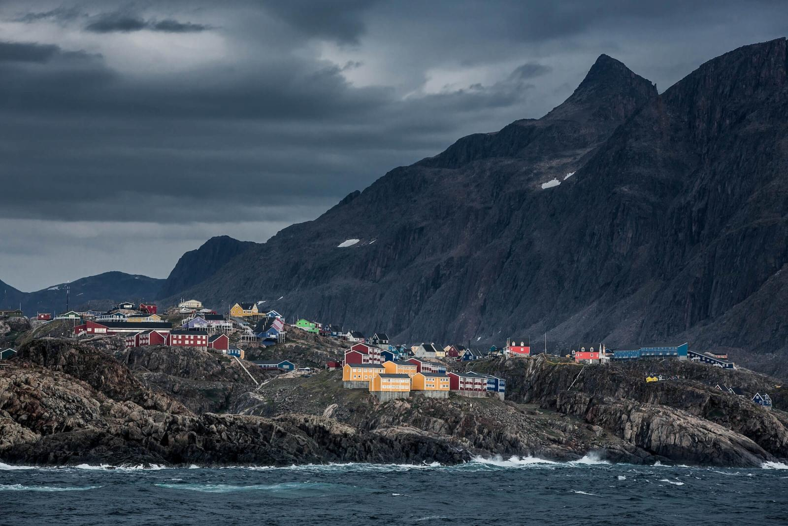 A windy and cloudy day in Sisimiut in Greenland