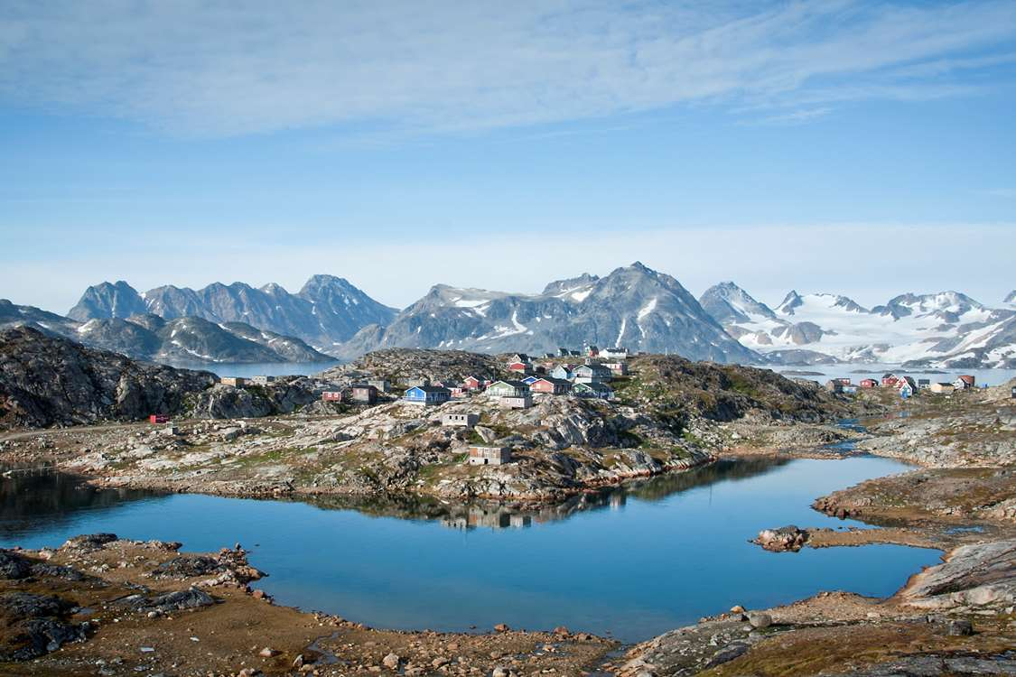View of Kulusuk, East Greenland, in Summer. Photo by Steff Hilty