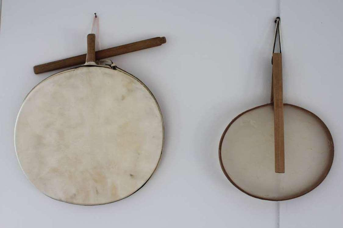 The Angakoq's (shaman) drum. The one on the right is original, made of polar bear stomach. Photo by Kulusuk Museum