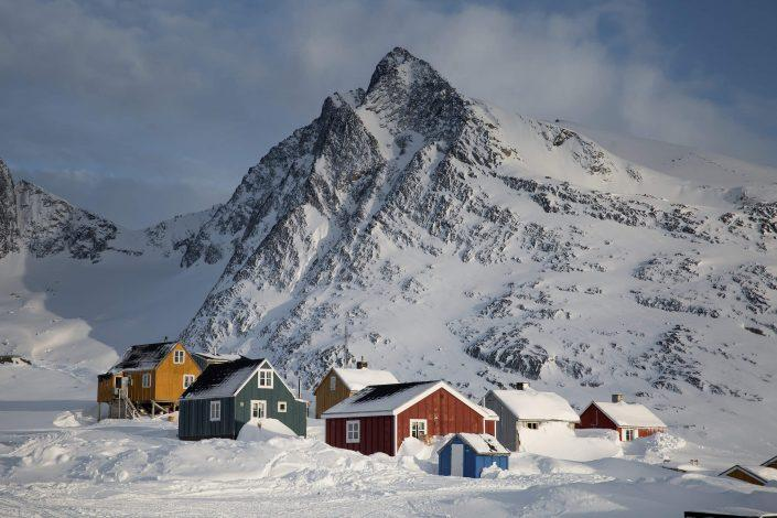 Kuummiut in East Greenland is lined with ragged and dramatic mountain peaks known for big snows every winter