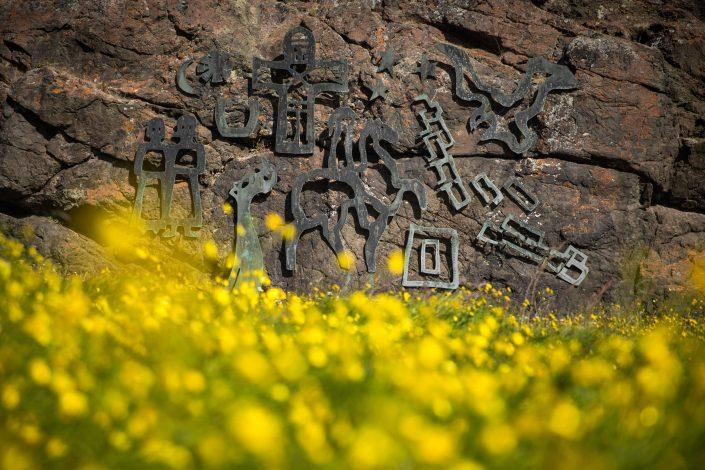Cast iron figures inspired by norse runes in Qassiarsuk in South Greenland