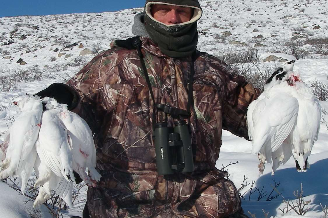 Hunter with grouse catch in Kangerlussuaq, Greenland. Photo by North Safari Outfitters