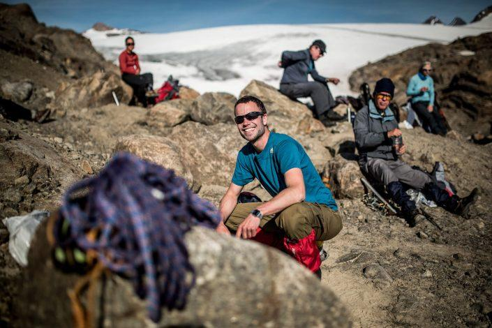 A Greenland Travel hiking group near Mittivakkat Glacier in East Greenland. Photo by Mads Pihl