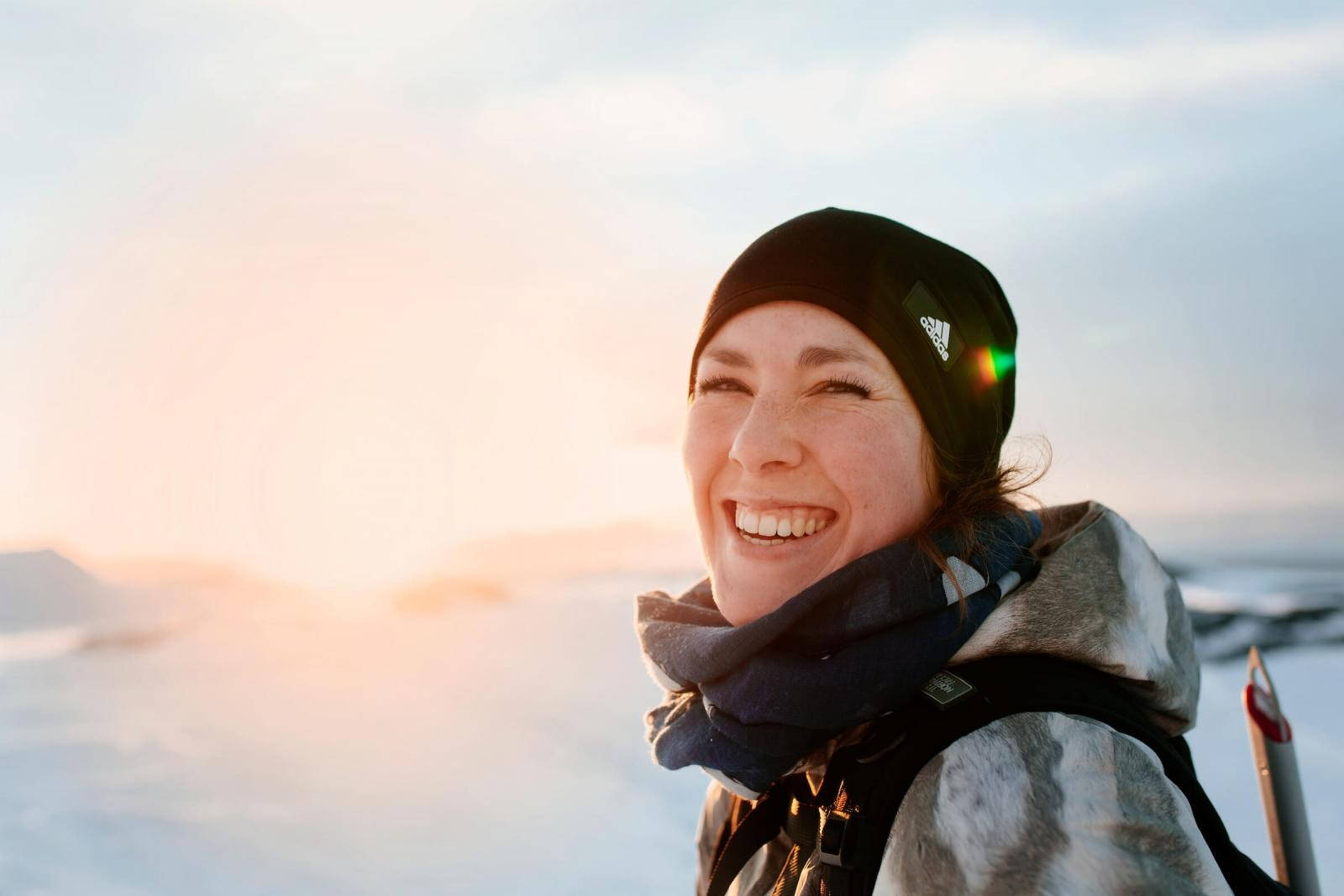 Portrait of a female tourist in Nuuk in Greenland. By Rebecca Gustafsson