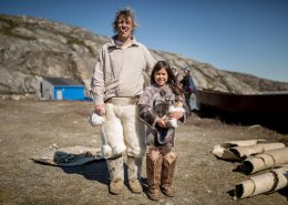 A dutch whaler and a Greenlandic girl at the living village museum in Qasigiannguit in Greenland. Photo by Mads Pihl - Visit Greenland
