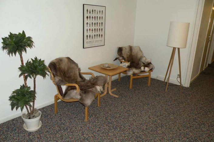 Comfortable seating area in the hallway. Photo by Hotel Sømandshjemmet, Visit Greenland