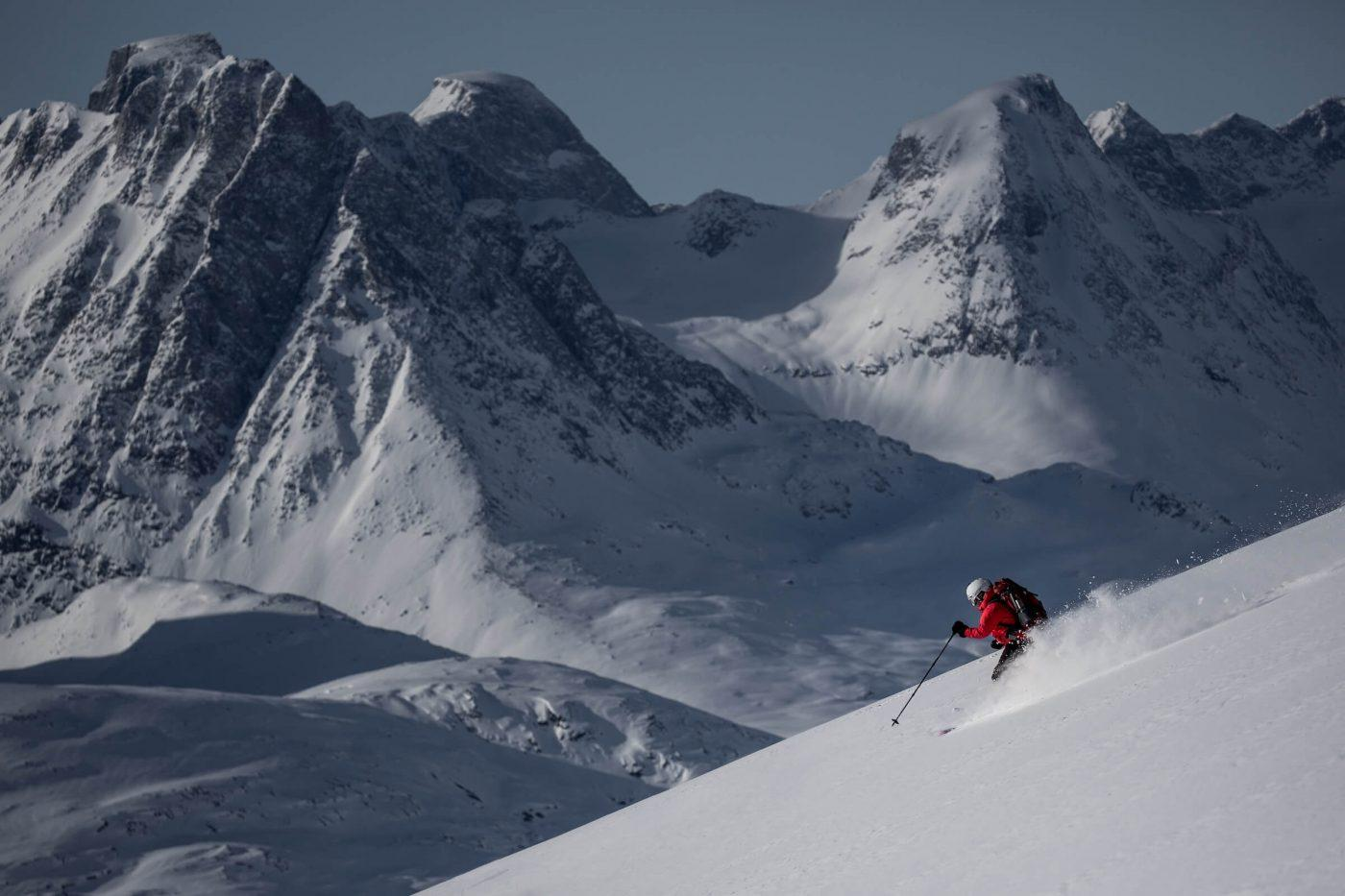 Skiing among remote peaks in East Greenland near Kulusuk