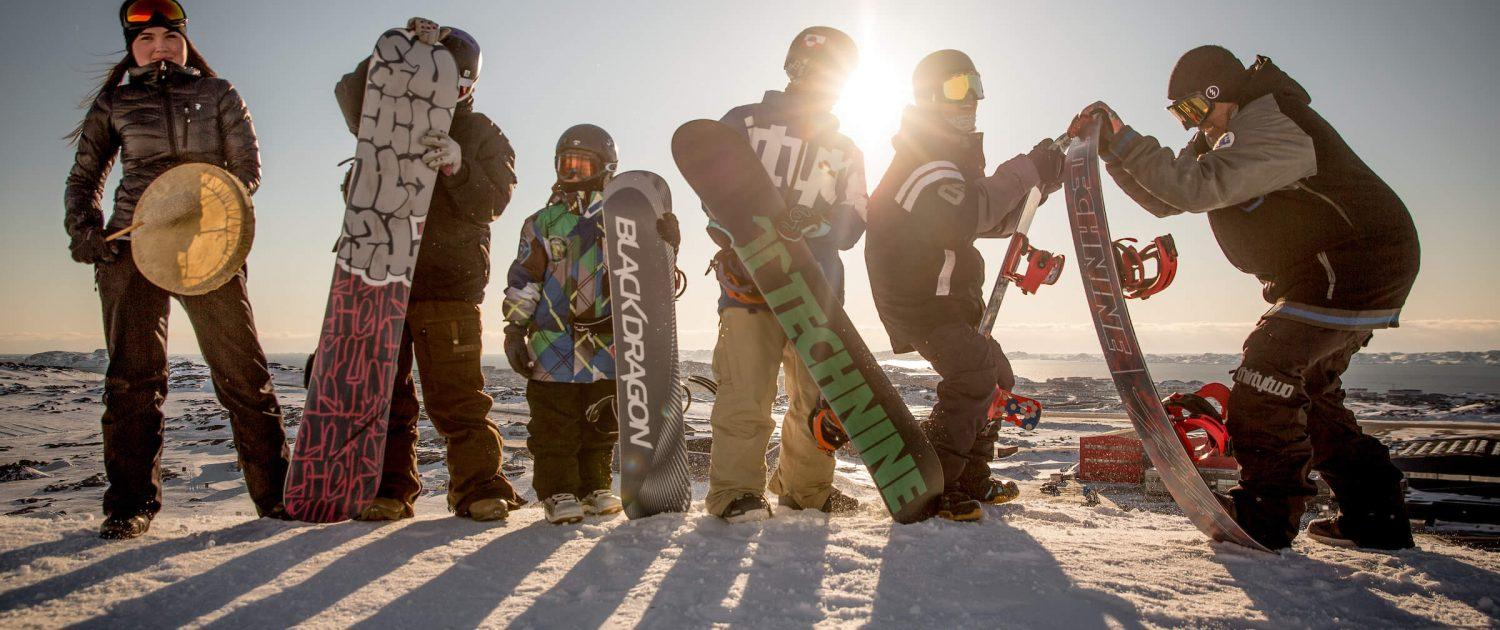 A group of snowboarders from Nuuk having fun in the sun while waiting for the Arctic Winter Games in Greenland