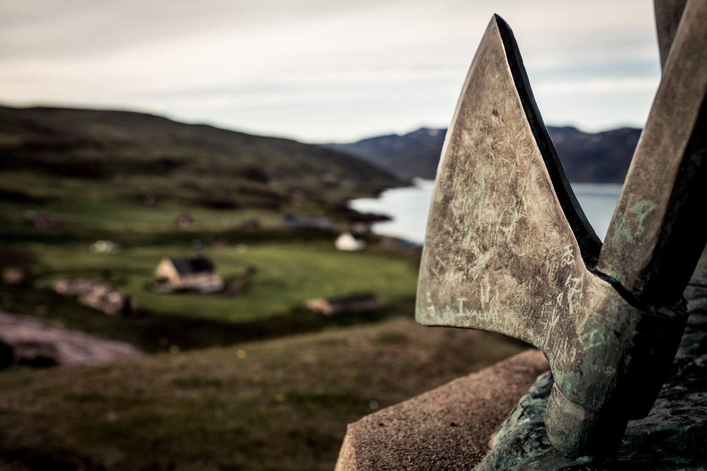 The axe of Leif Erikson - the statue overlooking Qassiarsuk in South Greenland. By Mads Pihl