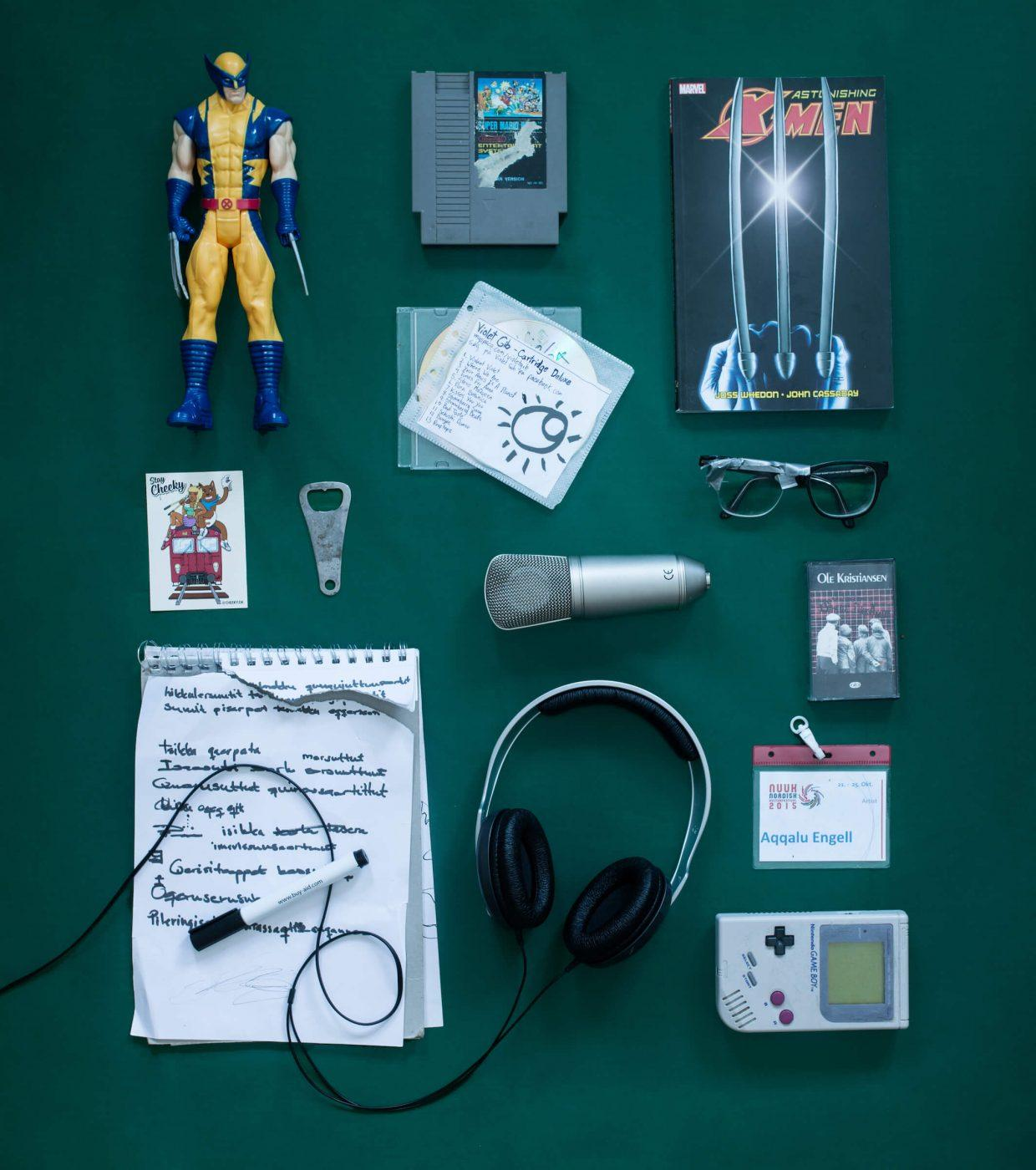 The everyday items of Aqqalu Engell, a greenlandic music producer. Photo by Rebecca Gustafsson