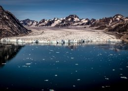 The front of the Knud Rasmussen glacier in East Greenland seen from an Air Zafari flight, by Mads Pihl