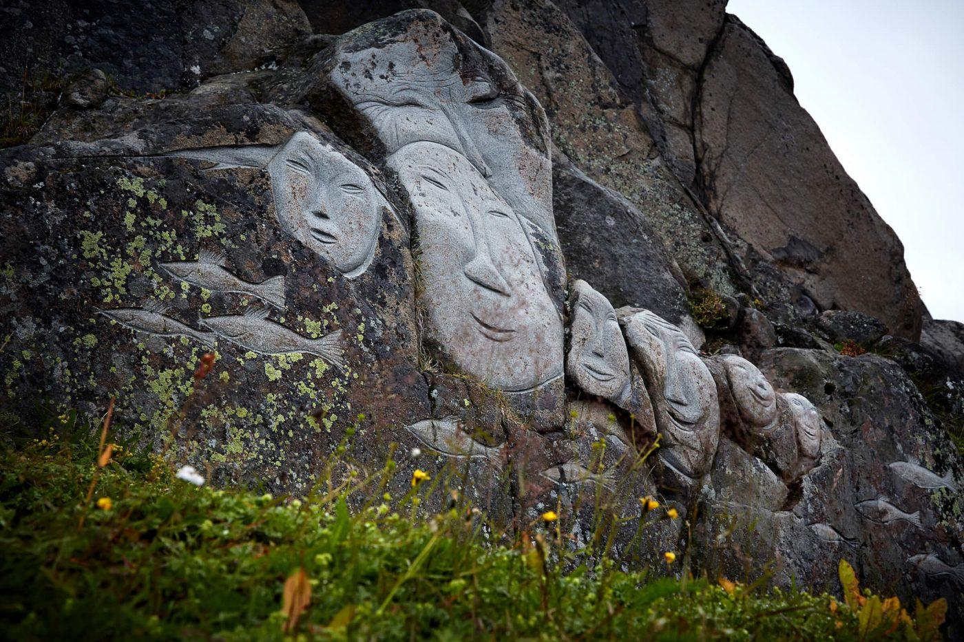 'Stone and Man' stone carvings in Qaqortoq. By Camilla Hey