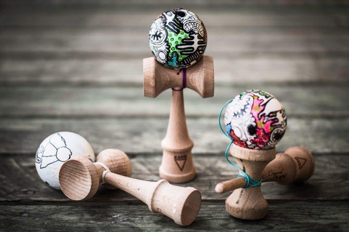 Visual artist Mike Kristiansen's tupilak-decorated kendama sticks, by Mads Pihl