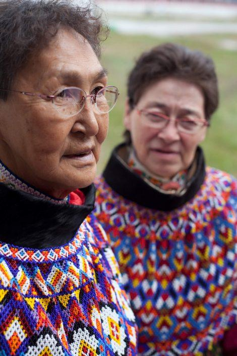 Two elderly women from Paamiut in national costumes from Greenland