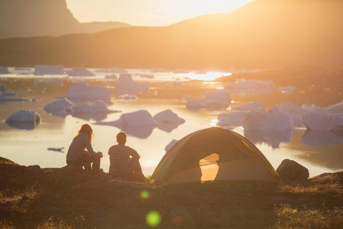 Two Hikers enjoying the Midnight Sun in Greenland