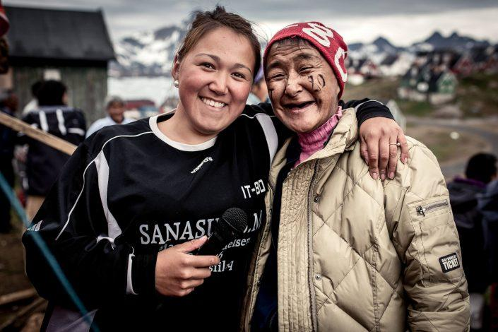 Two supporters of Isortoq team IT-80 at the East Greenland football championships in Tasiilaq. By Mads Pihl