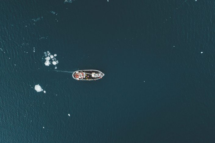 A boat from above