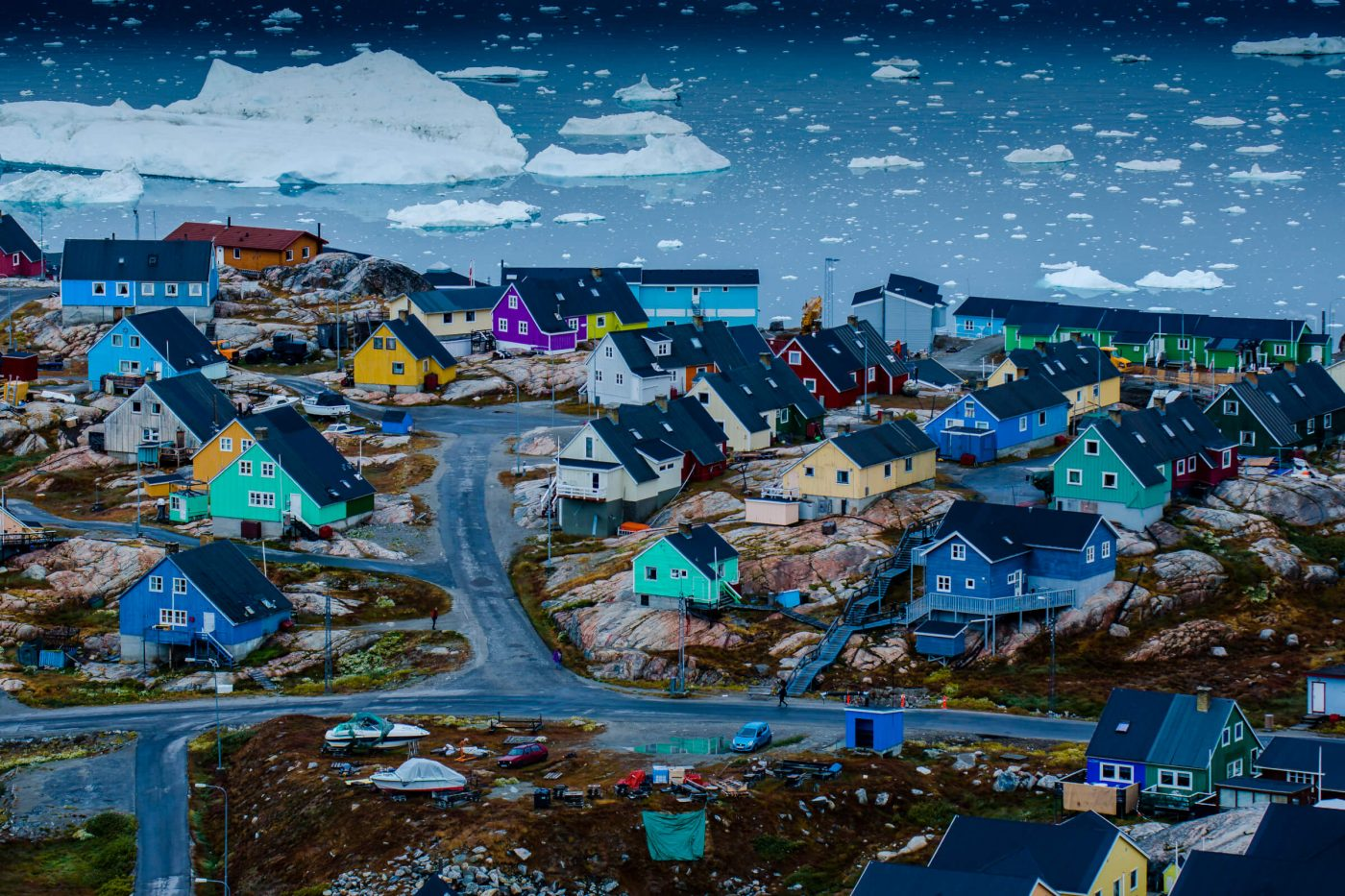 Greenlandic city with colourful houses from above