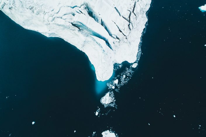 A large iceberg from above