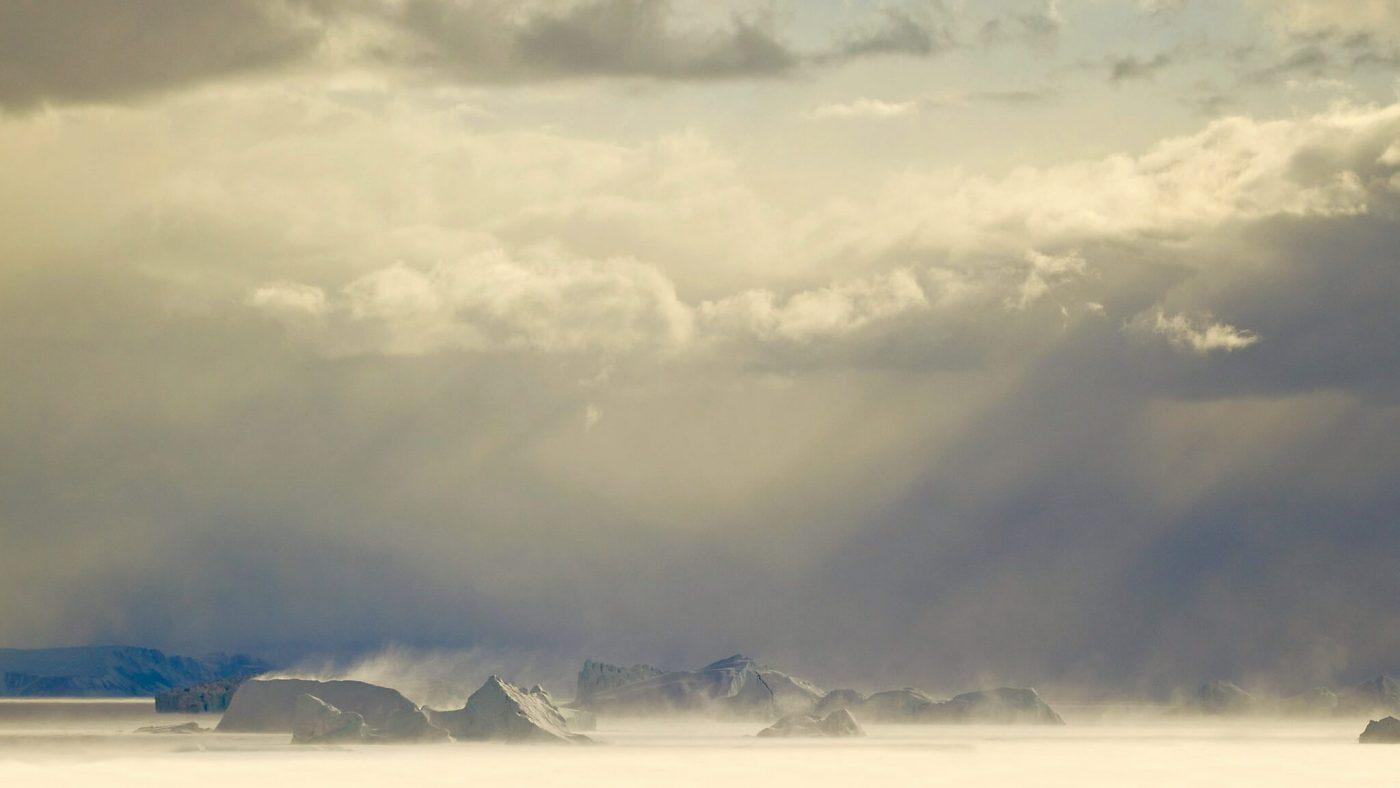 Storm on the Sea Ice. By Magssannguaq Qujaukitsoq