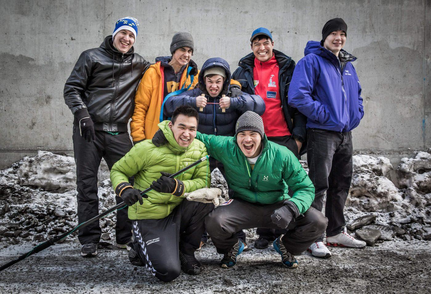 A group of Inuit Games athletes from Nuuk ready for the Arctic Winter Games in Greenland. By Mads Pihl