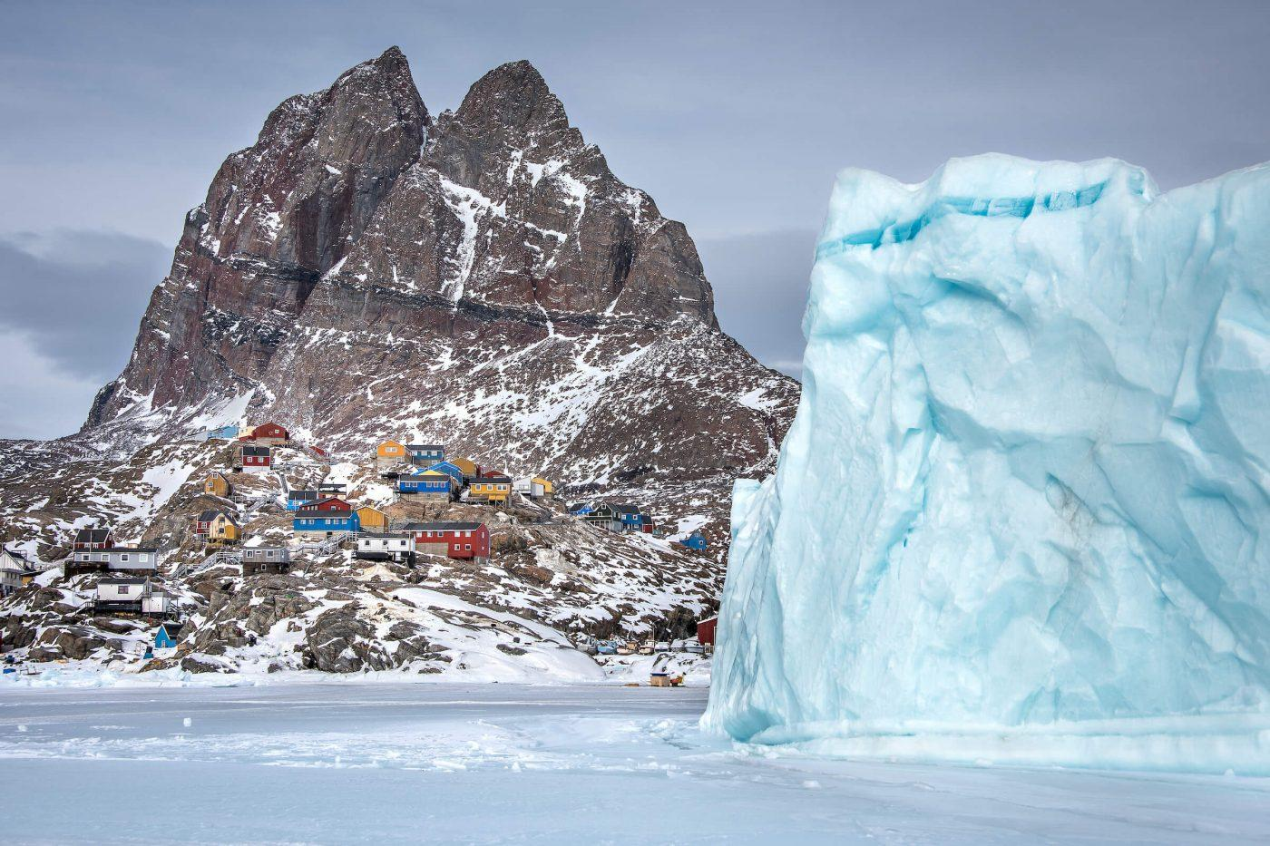 A winter view of the heart shaped mountain and the town of Uummannaq in North Greenland. Photo by Marcela Cardenas.