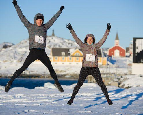 Two Runners Jumping in excitement. By Bo Kristensen