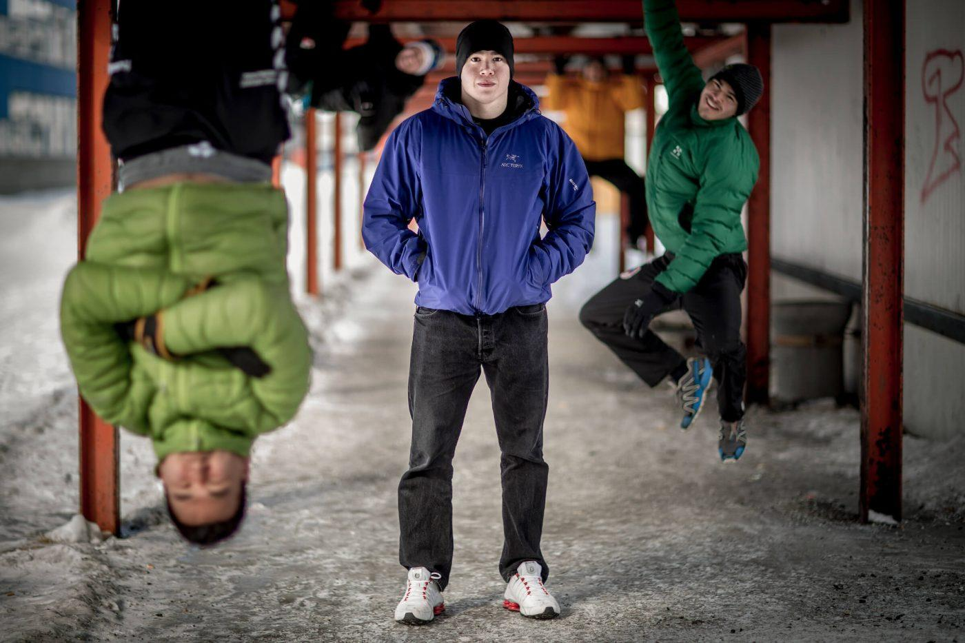 Arctic Winter Games athletes having fun in the urban spaces of Nuuuk in Greenland. By Mads Pihl