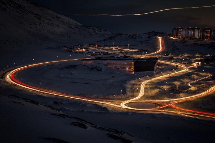 The Nuuk suburb Qinngorput in Greenland at night in winter. By Mads Pihl