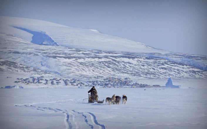 Dog sled on sea ice with Qaanaaq and the ice cap in background. Photo by Magssannguaq Qujaukitsoq.