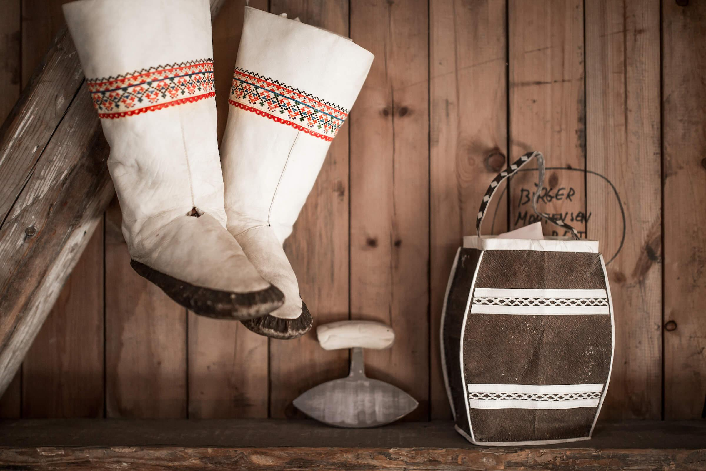 Kamiks and souvenirs at the Hotel Narsaq shop on the old harbour in Narsaq in South Greenland. Photo by Mads Pihl.