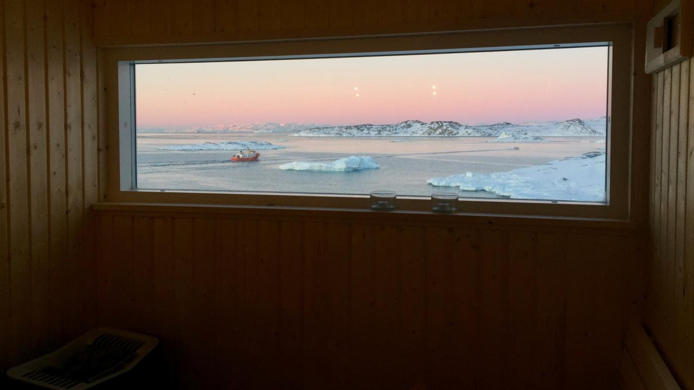 Sauna solnedgang. Photo by Ilulissat Guesthouse