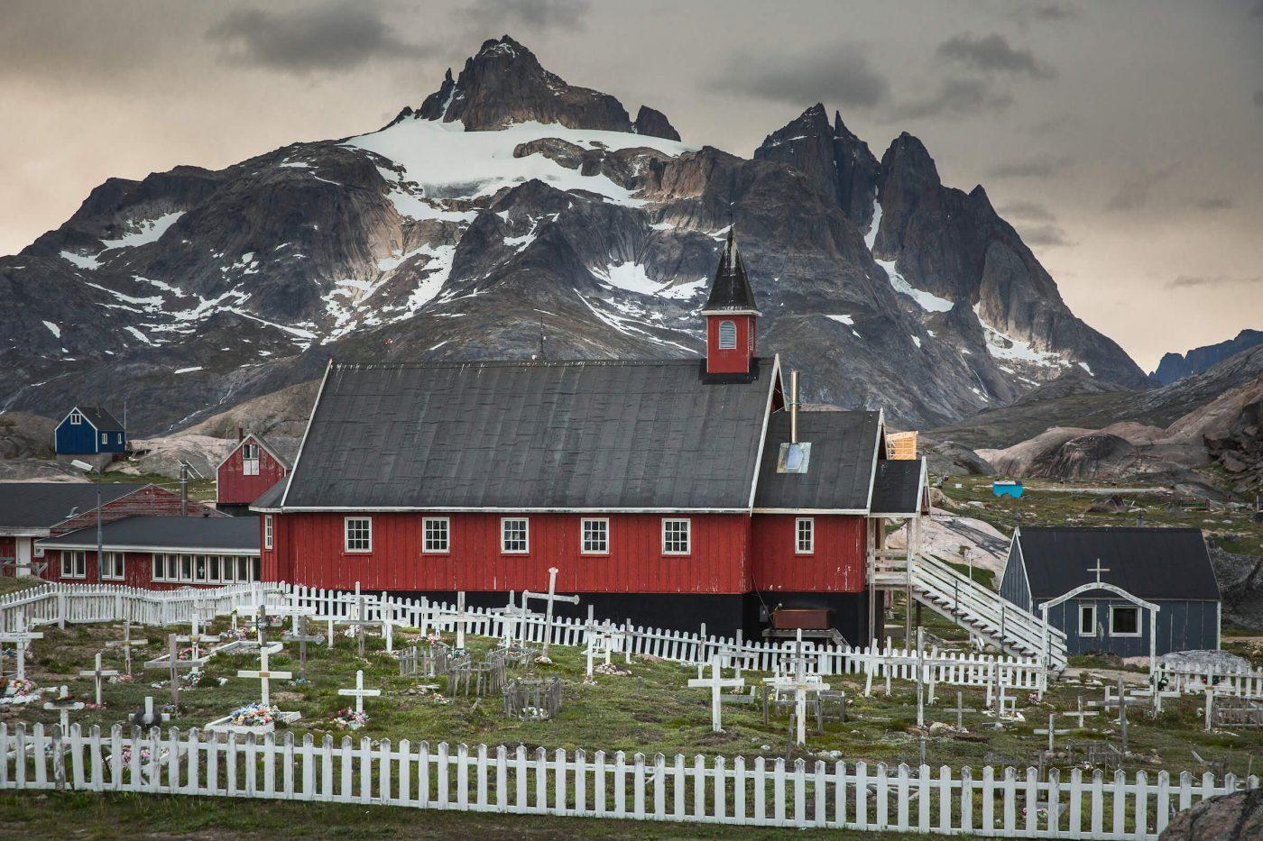 The church in the village Aappilattoq in South Greenland. Photo by Mads Pihl.