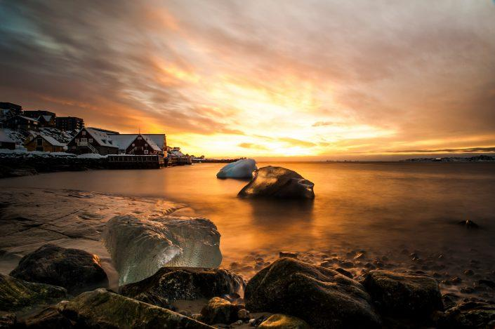 Sunset at the old colonial harbor in Nuuk. By Camilla Hylleberg