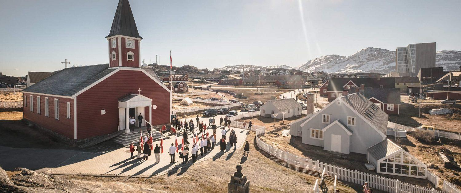 The old church in Nuuk on a sunny National Day in Greenland, June 21 - 2015. Photo by Mads Pihl - Visit Greenland
