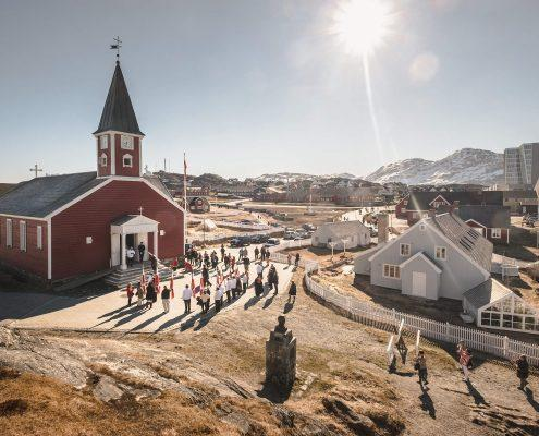 The old church in Nuuk on a sunny National Day in Greenland, June 21 - 2015