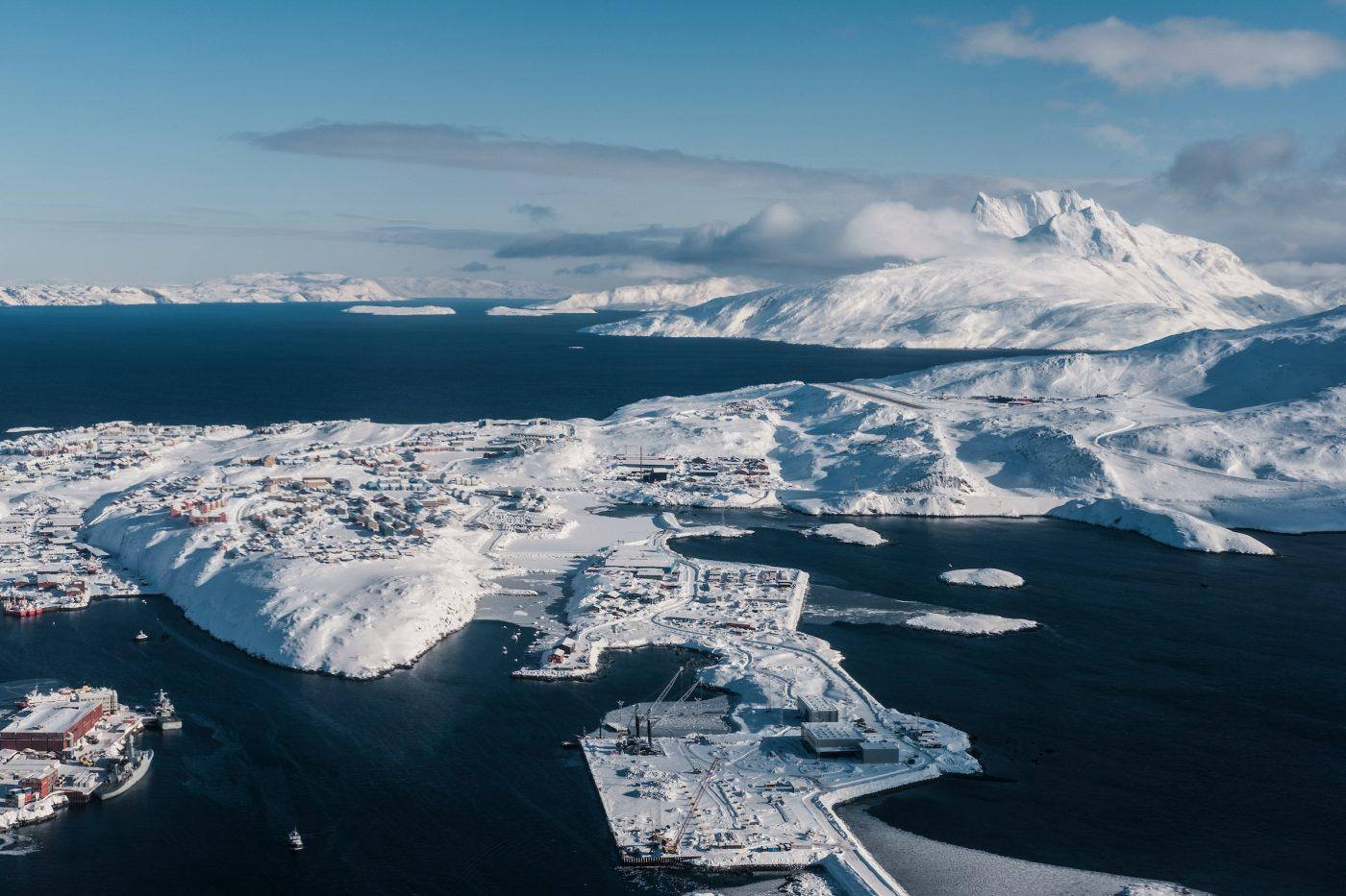Sunny Spring Aerial View over Nuuk, The Capital Of Greenland. Photo by Petter Cohen, Xtravel