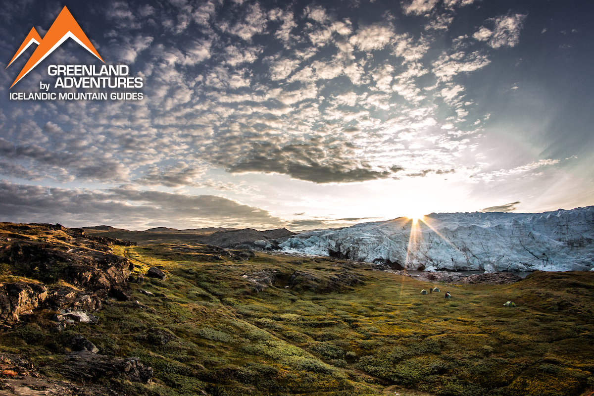 Sunrise over a tent camp by the Russell Glacier near Kangerlussuaq in Greenland. Photo by Mads Pihl